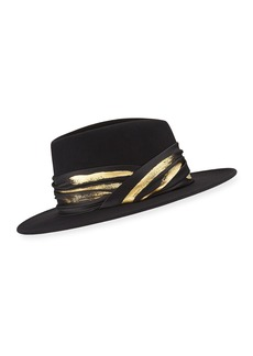 Eugenia Kim Blaine Wool Fedora w/ Imitation Gold Leaf Band