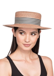 Eugenia Kim Brigitte Vented Hemp Boater Hat w/ Striped Hat Band