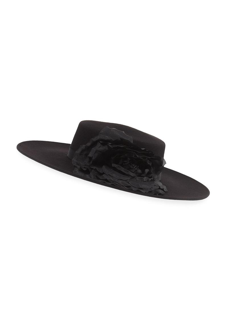 Eugenia Kim Femi Tonal-Flower Wool Boater Hat