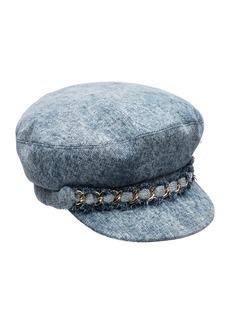 Eugenia Kim Marina Denim Newsboy Hat with Chain Detail