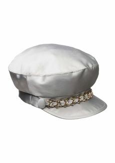 Eugenia Kim Marina Satin Newsboy Hat with Chain Detail