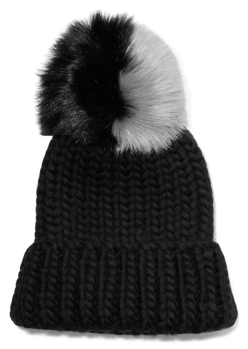 edef71d4ec33f Eugenia Kim Rain faux fur-trimmed chunky-knit wool beanie