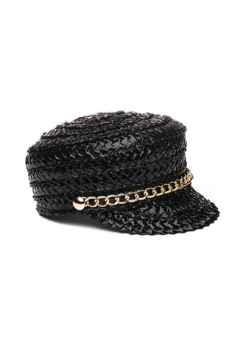 Eugenia Kim Sabrina Lacquered Braid Newsboy Hat