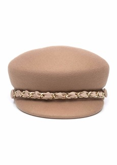 Eugenia Kim Sabrina Wool Newsboy Hat w/ Golden Curb Chain Detail