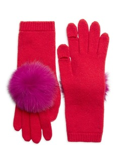 Eugenia Kim Sloane Fox Fur Pom-Pom & Cashmere Gloves