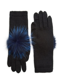 Eugenia Kim Sloane Fox Fur Pom-Pom & Cashmere Gloves
