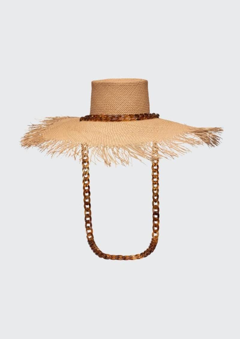 Eugenia Kim Valentina Straw Sun Hat with Tortoiseshell Chain