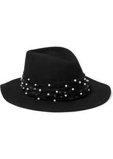 Eugenia Kim Woman Blaine Faux Pearl-embellished Tulle-trimmed Wool-felt Fedora Black