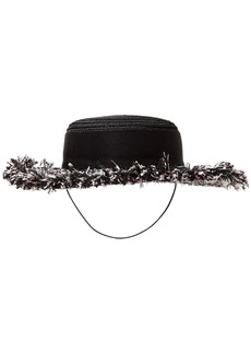 Eugenia Kim Woman Brigitte Hemp-blend Grosgain And Frayed Tweed Hat Black
