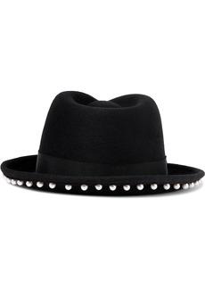 Eugenia Kim Woman Francis Faux Pearl-embellished Wool-felt Hat Black