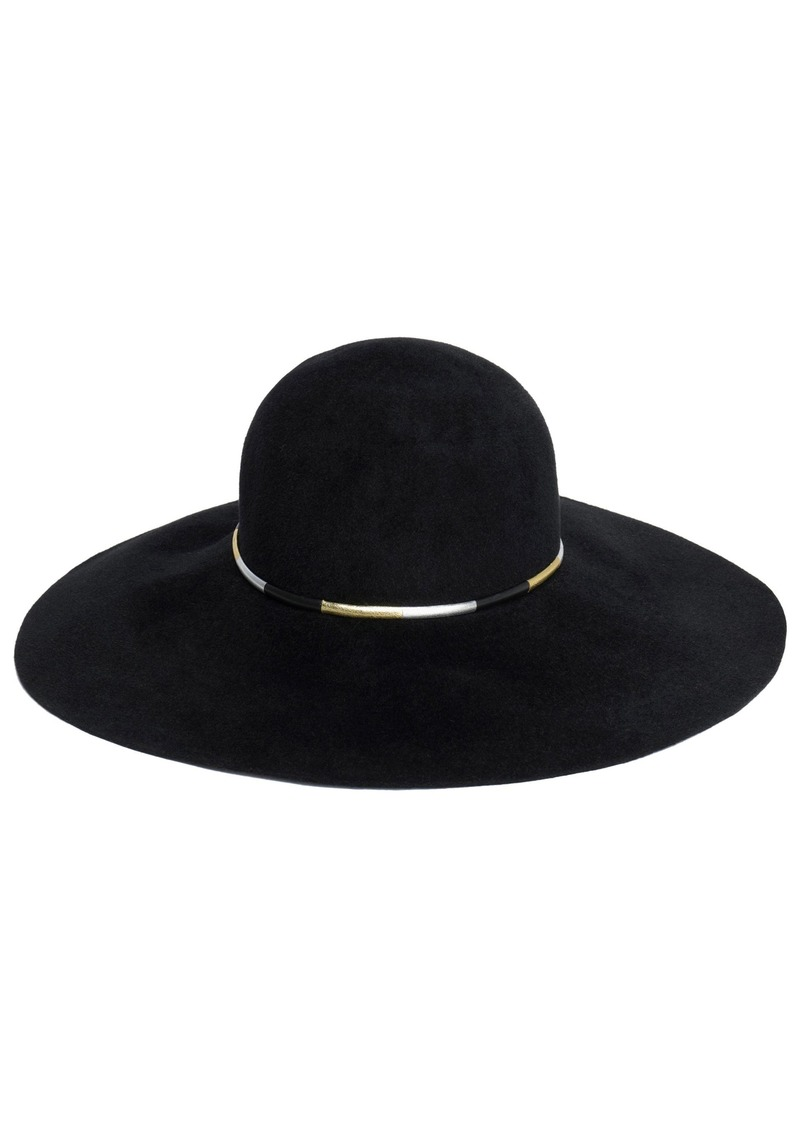 Eugenia Kim Woman Honey Metallic Faux Leather-trimmed Rabbit-felt Hat Black