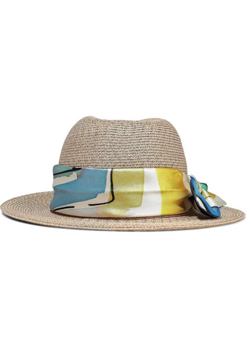 Eugenia Kim Woman Lillian Printed Faille-trimmed Woven Straw Hat Sand