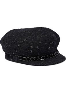 Eugenia Kim Woman Marina Chain-trimmed Metallic Bouclé-tweed Cap Black