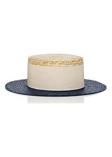 Eugenia Kim Women's Cruz Straw Boater Hat - Blue