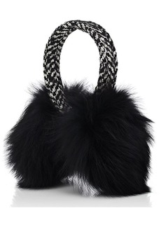 Eugenia Kim Women's Janine Wool-Blend Tweed & Fox Fur Earmuffs - Black