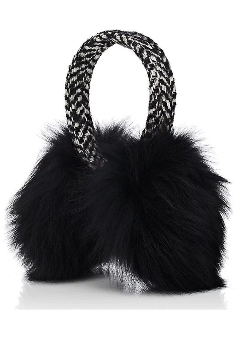 Eugenia Kim Women's Janine Wool-Blend Tweed & Fox Fur Earmuffs - Black