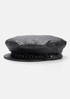 Eugenia Kim Women's Marina Crinkled-Leather Chauffeur Cap - Black