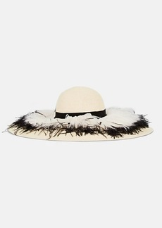 Eugenia Kim Women's Sunny Feather-Embellished Floppy Sun Hat - Beige, Tan
