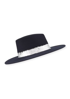 Eugenia Kim Harlowe Wool Fedora Hat w/ Imitation Silver Leaf Trim