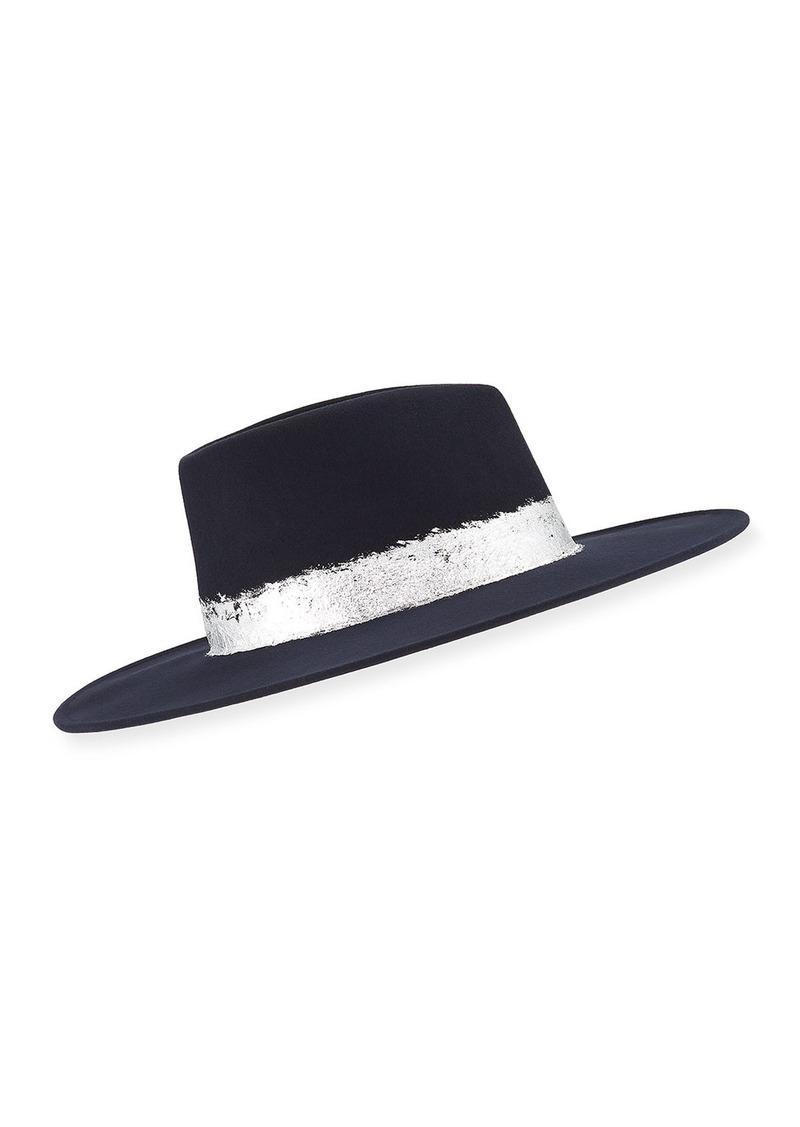 Eugenia Kim Harlowe Wool Fedora Hat w/ Imitation Silver Leaf Trim