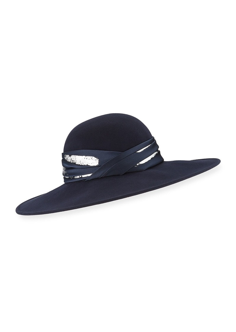 Eugenia Kim Honey Large Brim Hat w/ Imitation Silk Leaf Band