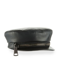 Eugenia Kim Marina Leather Zip Newsboy Hat