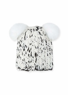 Eugenia Kim Mimi Metallic Knit Beanie Hat w/ Fur Pompoms