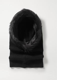 Eugenia Kim Paulina Faux Fur-trimmed Ribbed Cashmere Snood