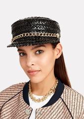 Eugenia Kim Sabrina Straw Newsboy Chain Detail Cap