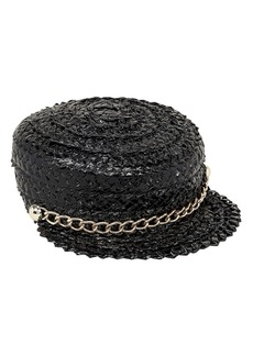 Eugenia Kim Sabrina Straw Newsboy Chain Detail Cap