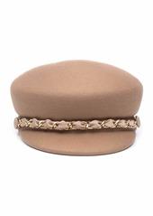 Eugenia Kim Sabrina Wool Newsboy Hat w/ Golden Curb Chain Detail