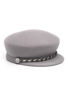 Eugenia Kim Sabrina Wool Newsboy Hat w/ Gunmetal Curb Chain Detail