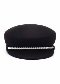 Eugenia Kim Sabrina Wool Newsboy Hat w/ Swarovski Pearl Trim