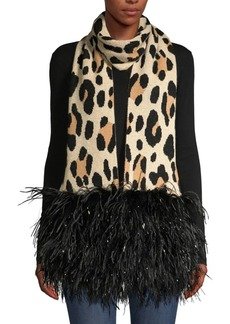 Eugenia Kim Theda Leopard-Print Cashmere & Feather Fringe Scarf