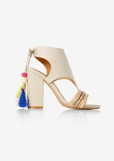 Express Beaded Tassel Cut Out Heeled Sandals