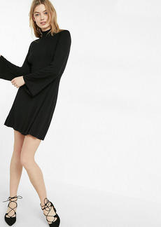 Bell Sleeve Mock Neck Fit And Flare Dress