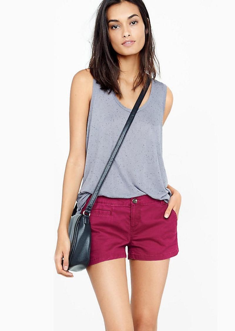 Express Berry Twill Trouser Pocket Short Shorts
