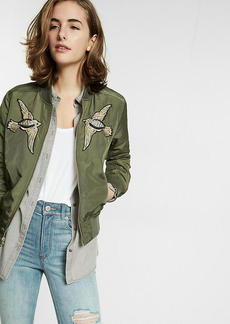 Bird Patch Embellished Filled Bomber Jacket