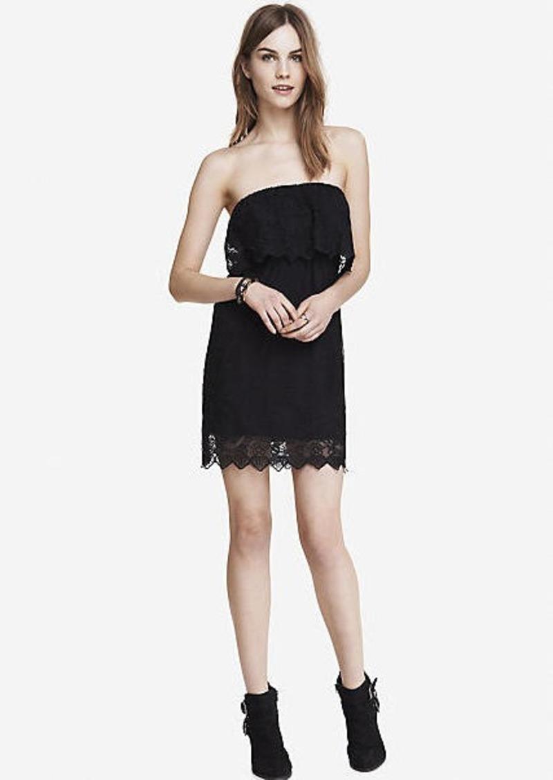5266c5605d Express black baroque lace tube dress