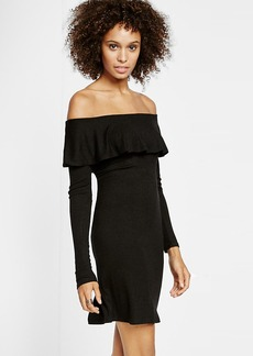 Black Ribbed Off The Shoulder Dress