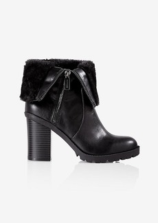 Express Black Side Zip Faux Fur Lined Heeled Boot