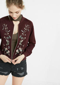 Express Butterfly Embroidery Raglan Sleeve Bomber Jacket