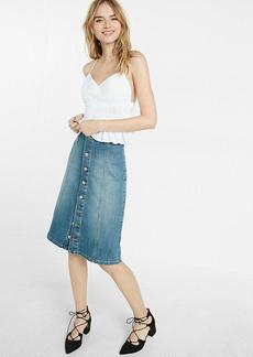 Button Front Denim Midi Skirt