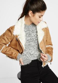 Camel Faux Shearling Moto Jacket