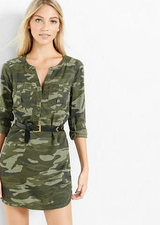 Express Camouflage Soft Twill Popover Shirt Dress