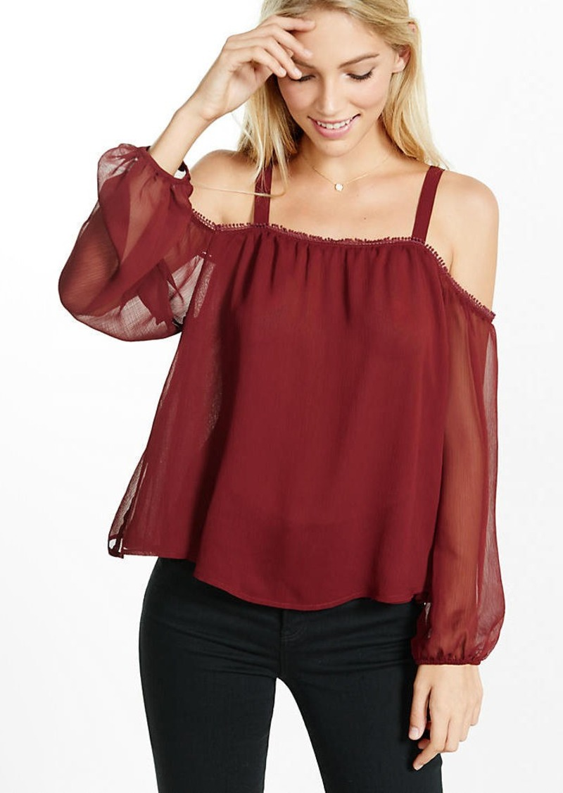 Express Chiffon Cold Shoulder Blouse