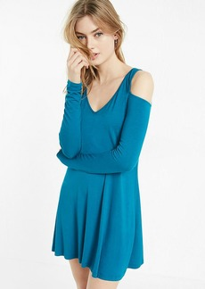 Cold Shoulder Long Sleeve Trapeze Dress