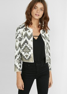 Collarless Geometric Sequined Jacket