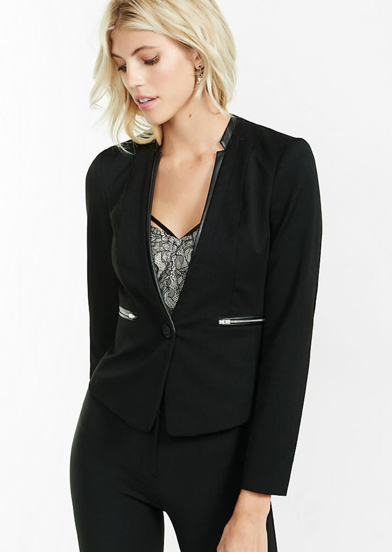 Express Collarless Jacket With (Minus The) Leather Accents