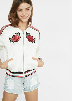 Color Block Rose Embroidered Bomber Jacket
